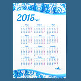 Blue gzhel ornament Russian vector calendar Stock Images