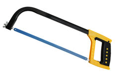 Blue hacksaw with yellow handle. Isolated on white background Royalty Free Stock Photography