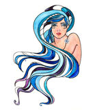 Blue hair. Beautiful woman with cold long hair Royalty Free Stock Photo