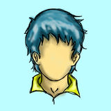 Blue Hair Character Man royalty free stock image