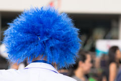 Blue hair. Close up clown`s blue hair Royalty Free Stock Photography