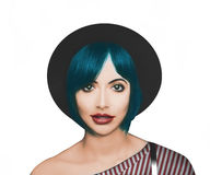 Blue hair fashion model Stock Images
