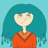 Blue hair girl portrait vector illustration Stock Images