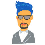 Blue hair man cartoon character Royalty Free Stock Images