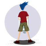 Blue hair man on toilet from behind Royalty Free Stock Photo