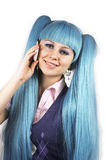 Blue hair pretty woman talking on mobile phone. On white background royalty free stock photo