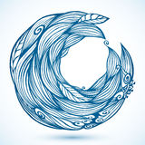 Blue hair waves doodle circle frame Royalty Free Stock Photography