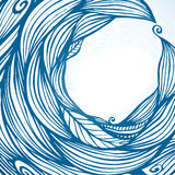 Blue hair waves doodle circle frame Royalty Free Stock Image