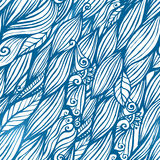 Blue hair waves doodle seamless pattern Stock Images