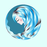 Blue hair woman. Profile of an abstract woman with blue wavy hair. Logo. Vector illustration Royalty Free Stock Photo