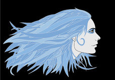 Blue Haired Girl Royalty Free Stock Photography