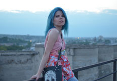 Blue-haired girl Royalty Free Stock Photography
