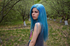 Blue-haired girl stock photos