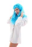 Blue hairs girl Stock Photos