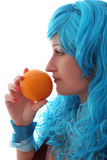 Blue hairs girl with fruit Royalty Free Stock Images
