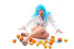 Blue hairs girl with fruits Stock Photography