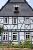 Blue half-timbered house Royalty Free Stock Photo