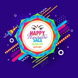 Blue halftone background decorated with abstract elements and fl. Oral frame for Navratri Sale with 65% discount offer poster or banner design Stock Illustration