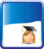 Blue halftone banner with cartoon graduate girl Royalty Free Stock Photo