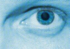 Blue Halftone Eye stock image