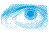 Blue Halftone Eye Stock Image