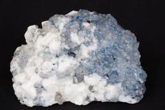 Blue halite mineral on black. Blue halite mineral crystal, also rock salt on black background royalty free stock photo