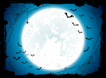 Blue Halloween background with bats Stock Photography