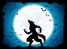 Blue Halloween background with bats and werewolf Royalty Free Stock Photography