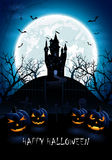 Blue Halloween background with castle and pumpkins Royalty Free Stock Image