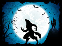 Blue Halloween background with castle and werewolf Royalty Free Stock Photography