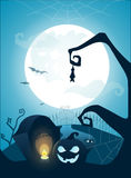 Blue Halloween background with full moon, Stock Photography