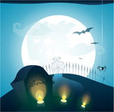 Blue Halloween background with full moon, Royalty Free Stock Photos