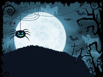 Blue Halloween background with scary spider. Blue shaded Halloween background with scary spider, full moon, bats, ghosts, crosses and grunge elements Royalty Free Stock Photography