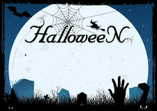 Blue halloween card or cemetery background royalty free illustration