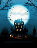 Blue Halloween haunted house background Stock Images