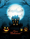 Blue Halloween haunted house background Stock Image