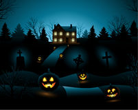 Blue Halloween invitation haunted house background Royalty Free Stock Image
