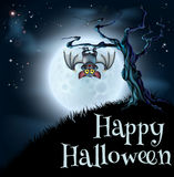 Blue Halloween Moon Bat Background Royalty Free Stock Photography