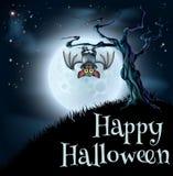 Blue Halloween Moon Bat Background Royalty Free Stock Photography
