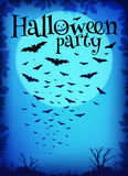 Blue Halloween party background with flying bats Royalty Free Stock Photos