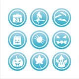 Blue halloween signs. Set of 9 blue halloween signs Stock Photos