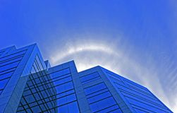 Blue Halo. Looking up the side of an office building Royalty Free Stock Images