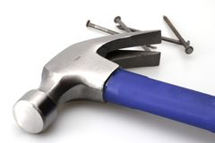 Blue Hammer and Nails. For home construction royalty free stock images