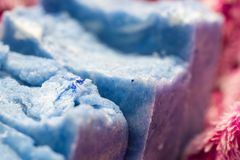 Hand made blue soap royalty free stock photography