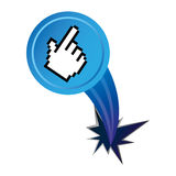 Blue hand cursor with hole icon. Illustraction design Stock Images
