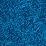 Blue hand drawing waves decorative background Stock Image