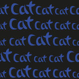 Blue Hand Drawing Word Cat Seamless Pattern. Vector Illustration Stock Image