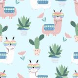 Blue hand drawn cute card with llama,glasses,cactus and flower. On blue background vector illustration