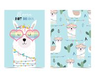 Blue hand drawn cute card with llama,heart glasses and cactus. On white background royalty free illustration