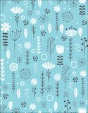 Blue Hand Drawn Floral Vector Pattern. White Flowers, Grey Twigs and Leaves on a Blue Background. Simple Infantile Style Design. royalty free illustration